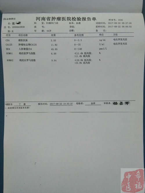 袁希福中药治疗卵巢癌康复病例